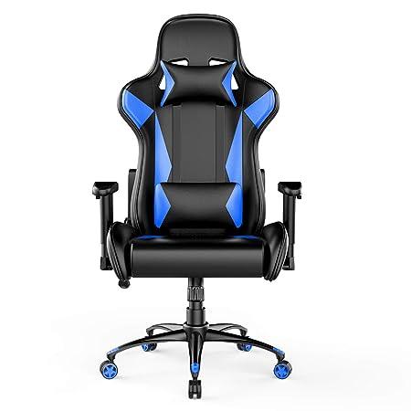 AmazonBasics Silla para gaming, diseño deportivo, polipiel de PU, azul