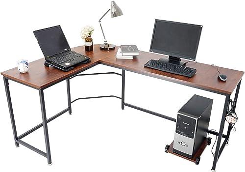 Ama Maker L-Shaped Computer Desk 66″ Corner Desk Writing Workstation