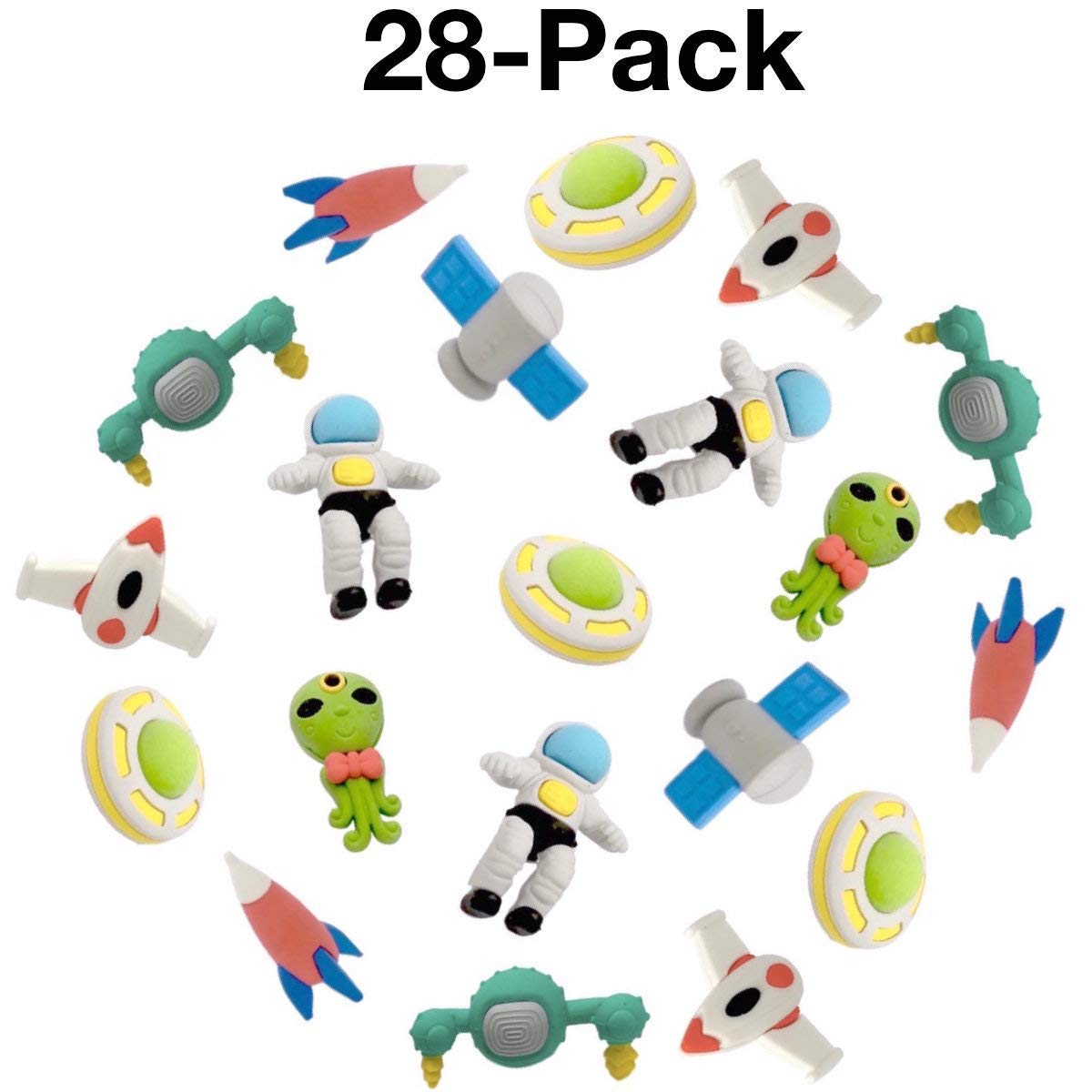 OHill Pack of 28 3D Outer Space Pencil Erasers Puzzle Erasers for Party Favors Supplies Classroom Treasure Box Prizes