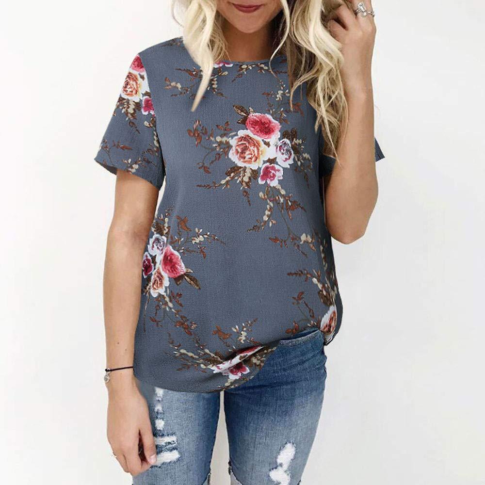 Floral Print T-Shirt Top Soft Lightweight Chiffon Long Sleeve//Short Sleeve Tops Blouse Womens Casual Round Neck Tops