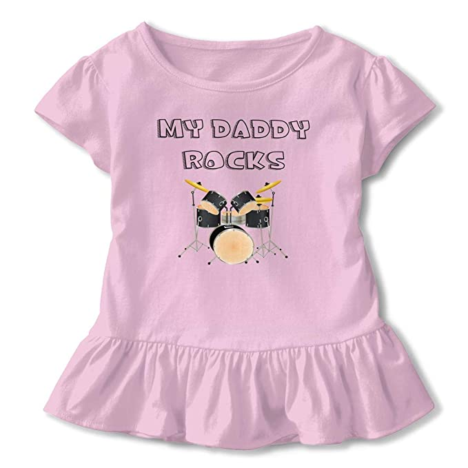 db71482b Amazon.com: Toddler Girl's Ruffle T-Shirt My Daddy Rocks Drums Cotton Short  Sleeve Top 2-6T: Clothing