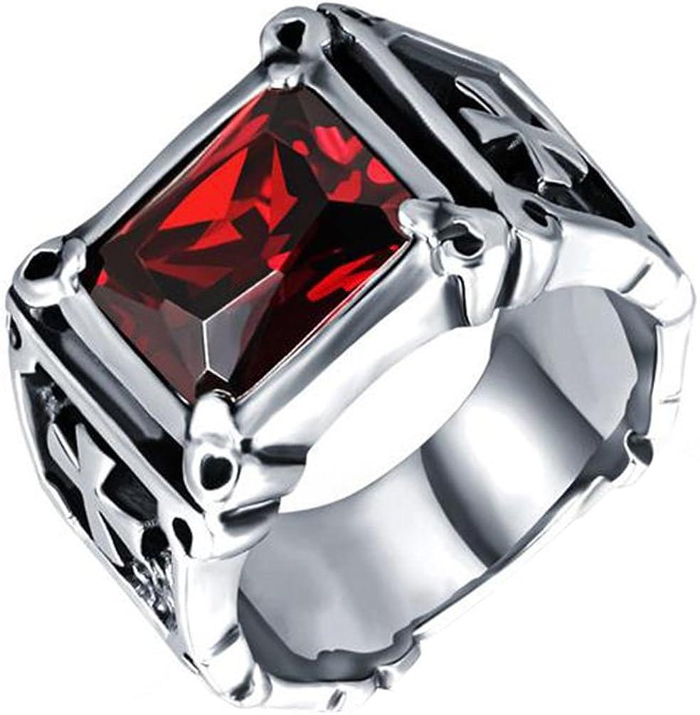 HIJONES Hombre Acero Inoxidable Vendimia Gótico Cruz Anillo con Gran Piedra De Cristal Negro Rojo
