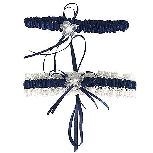d45740e788f288 Amazon.com  CQDY Navy Blue Lace Wedding Bridal Garter Set  Clothing