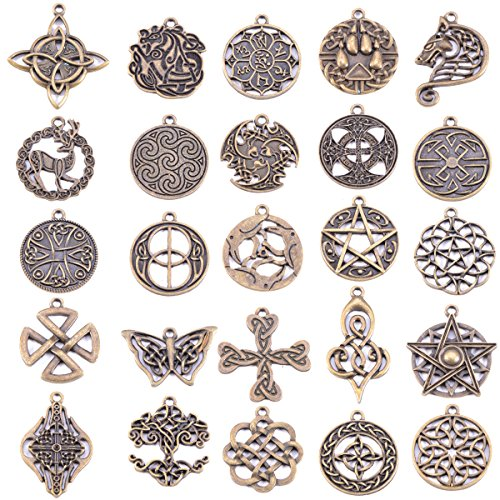Michelle Queen Celtic Irish Knot Charms for Jewelry Making 25 Packs(Antique (Mystic Knot Pendant)
