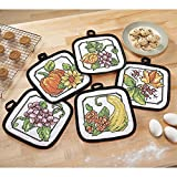 Herrschners Autumn Stained Glass Pot Holders Stamped Cross-Stitch