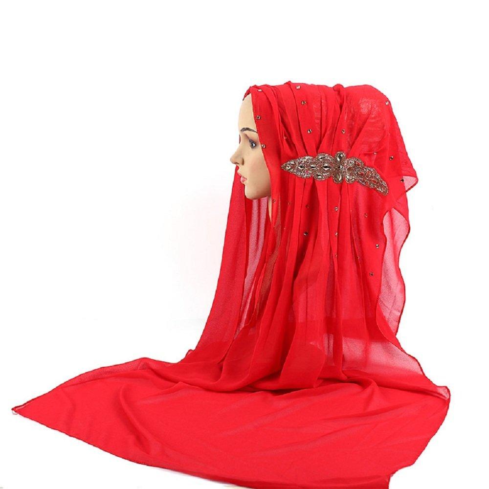 Islamic Muslim Big Rhinestones Ornament Chiffon Hijab Scarf (No.14)