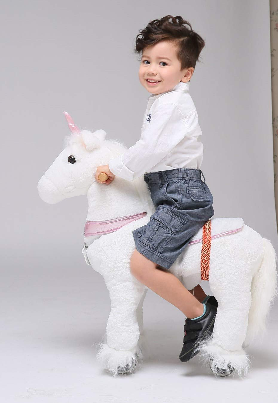 UFREE Horse Action Pony, Walking Horse Toy, Rocking Horse with Wheels Giddy up Ride on for Kids Aged 3 to 6 Years Old, Unicorn with Pink Horn