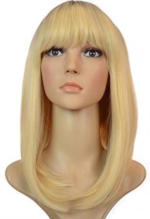 Blonde Long Inverted Bob Wig Dark Root Effect Thick Fringe