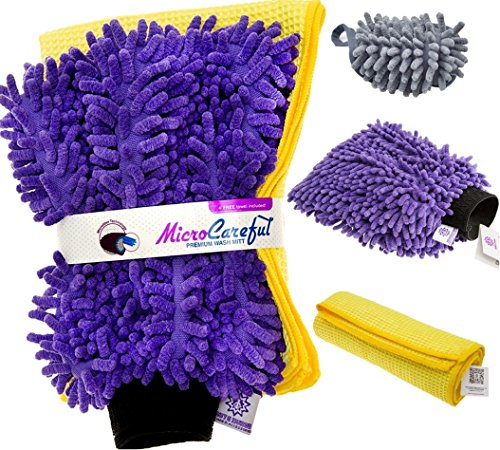 [3 piece] MicroCareful Premium Car Wash Mitt w/ free Towel and Duster, Professional Microfiber Lint-Free Scrath-Free Washing Mitt for Vans, Taxis and Automobiles by RouteGurus (Taxi Equipment)