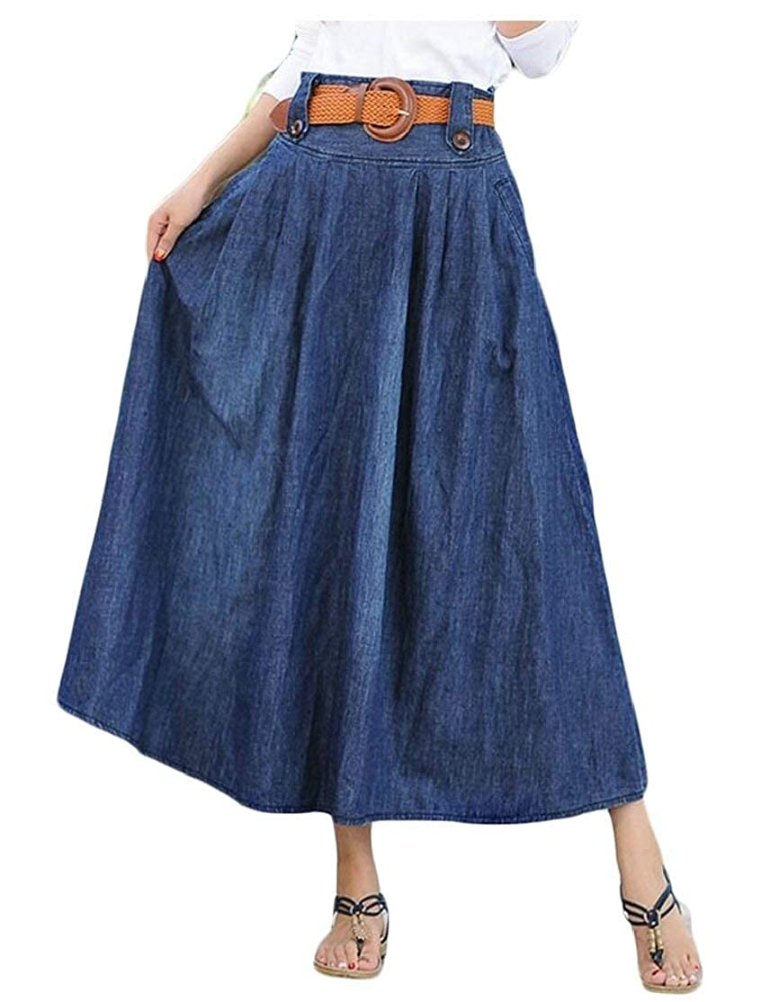 523d14b4edaf Alion Women's Vintage Pleated Denim High Waisted Maxi Skirts at Amazon  Women's Clothing store: