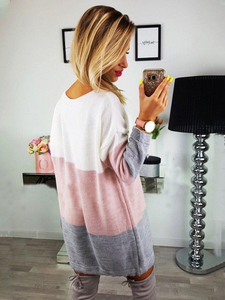 Minetom Automne Hiver Femme Pull Robe Col Rond Manche Longue Sweater Mini  Tricot Robe Pullover Blouse Agrandir l image 75b4b9c7a923