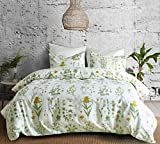 Hyprest Floral Duvet Cover Set Queen Lightweight Bohemia Soft White Green 3PC Comforter Cover Set Hotel Quality Plant Design (Queen)