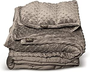 JoysMart 3-Piece Set 100% Cotton Weighted Blanket Adult 15 lbs. 48x72, Soft Minky Dot Washable Duvet Cover and Weighted Minky Dot Microwavable Shoulder Wrap/Lap Pad - Noiseless Glass Microbeads.