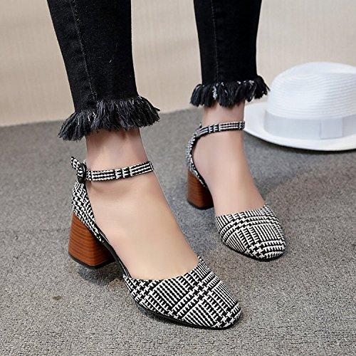 Xue Qiqi Licht Licht Licht der Sub-head single Schuhe dick mit Schlitz für die high-heel Schuhe Frauen und 36 Schwarz - Sandalen 1a5c96