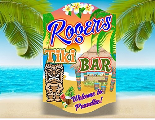 Personalized Tiki Bar Sign With Funky Tiki Totem Design & Your Custom Name - Home Bar & Beach Bar Wall Art - Tropical Decor