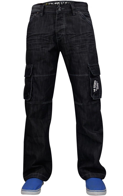 Enzo New Mens Jeans Blu Designer di Marca Straight Lavato all in Vita e Le Taglie