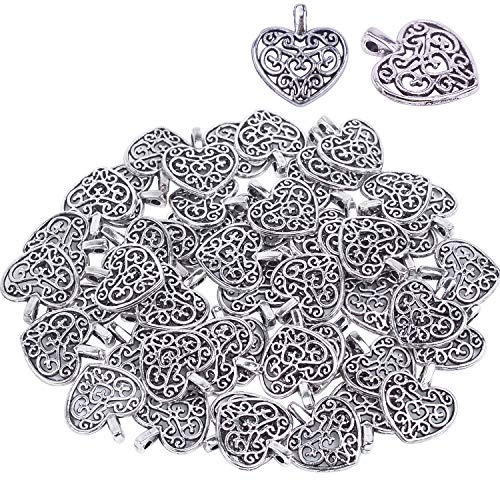 Bonayuanda Pack of 50 Silver Beads DIY Heart Charms Pendants Bracelet Necklace Jewelry Making -