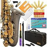 360-BN - Black Nickel/Gold Keys Eb E Flat Alto Saxophone Sax Lazarro+11 Reeds,Music Pocketbook,Case,Care Kit - 24 Colors with Silver or Gold Keys