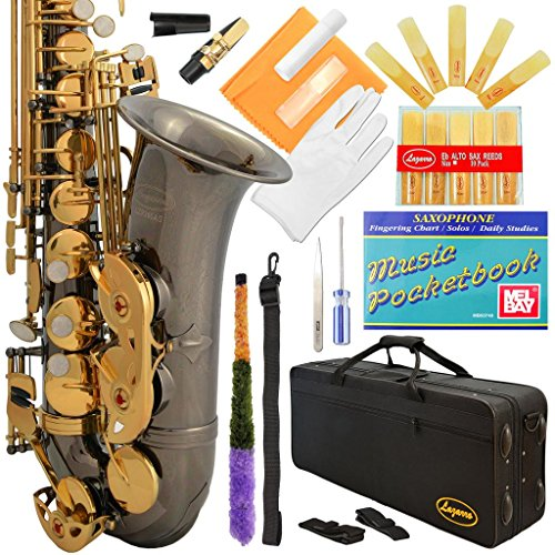 Lazarro 360-BN E-Flat Eb Alto Saxophone Black Nickel-Gold Keys with Case, 11 Reeds, Care Kit and Many Extras