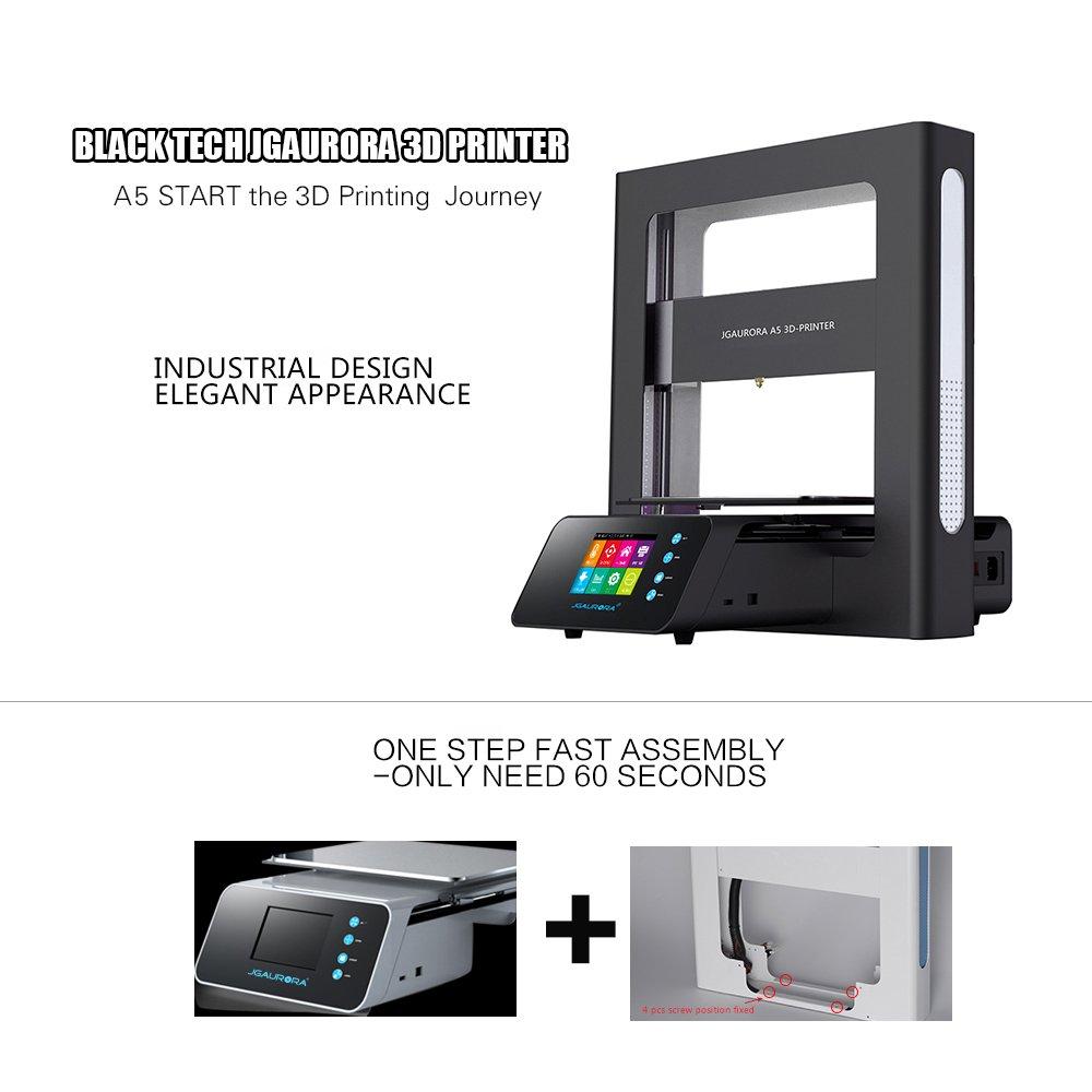 JGAURORA A5 Impresora 3D DIY con Marco de Metal Completo y ...