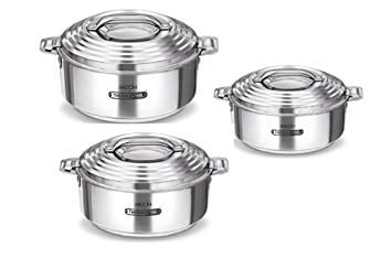 Milton Thermosteel Galaxia Casserole Set Of 3pcs 1000ml,1500ml 2500ml keep food hot and fresh-tasting for hours.