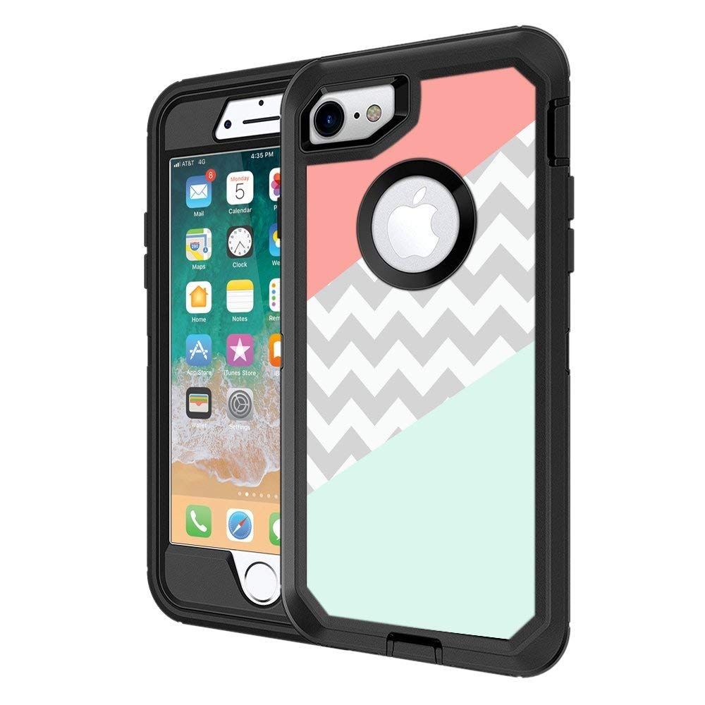 Protective designer vinyl skin decals stickers for otterbox defender iphone 8 iphone 7 case coral mint grey chevron design patterns only skins and not