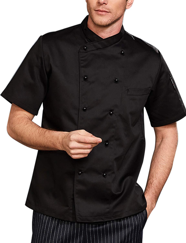 BOUPIUN Men's Chef Coat Short/Long Sleeve Waiter Chef Uniform Hotel Kitchen Restaurant Chefwear Jacket
