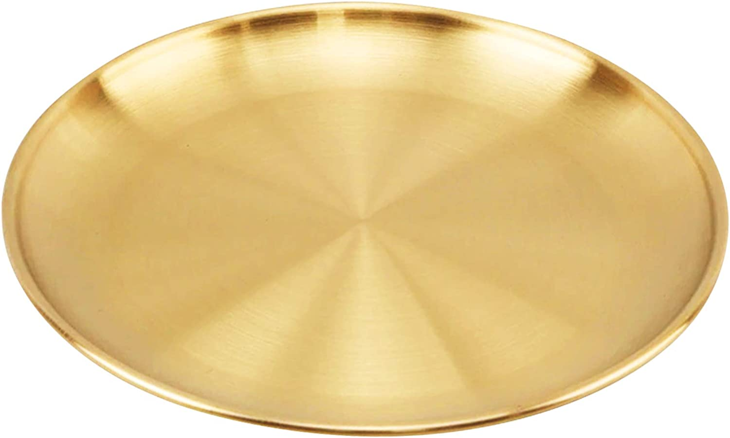 Stainless Steel Golden Plate Dessert Western Food Cake Steak Tray Barbecue Food Container Home Coffee Shop Hotel Restaurant Dining Equipment (20CM)