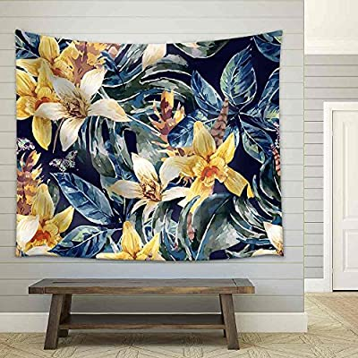 Premium Creation, Beautiful Picture, Vintage Floral Seamless Pattern Tropical Green Leaves and Exotic Flowers Fabric Wall