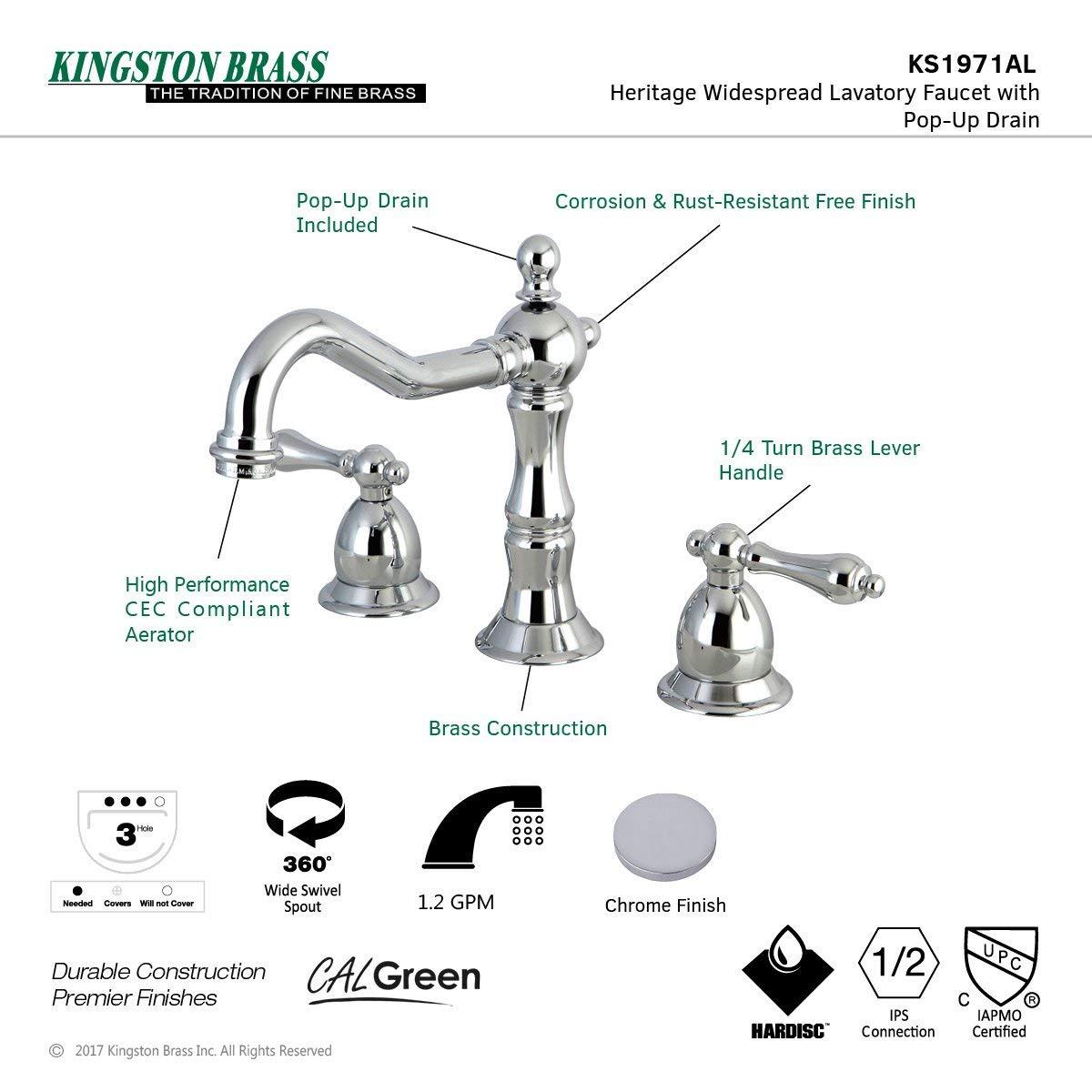 7-9//16 inch in Spout Reach Kingston Brass KS1970AL Heritage 8-Inch Widespread Lavatory Faucet with Brass Pop-Up Matte Black