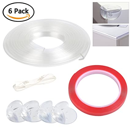 BUYGOO 6 Pcs 2m Protectores para Bordes y Esquinas Transparente PVC Protector de Borde para niño