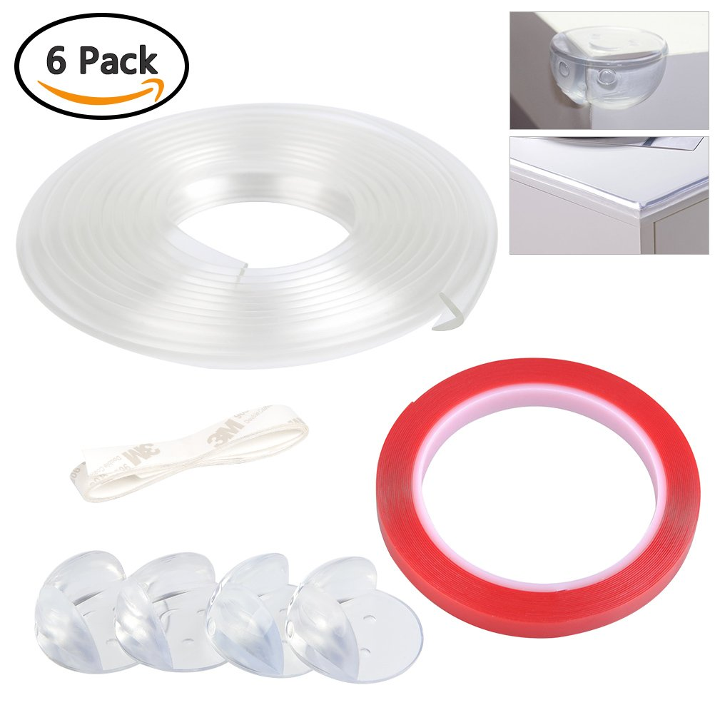 BUYGOO Edge Protector Strip Transparent 6.56ft, Pack of 4 Baby Safety Corner Guard Protector, with 32.8ft 3M Double-Sided Mounting Tape, for Cabinets, Drawers, Tables, Household Appliances etc