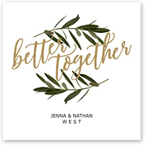 Better Together Personalized Beverage Napkin - 100 Custom Printed White Uncoined Napkins. 4 3/4'' x 4 3/4'' folded. Made in the USA