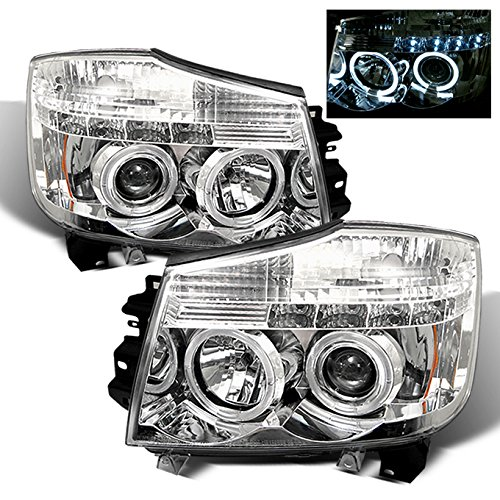 For Nissan Titan Armanda Chrome Clear Dual Halo Projector LED Headlights Front Lamps Replacement Pair