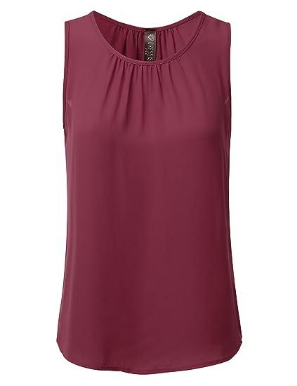 c832c307c3 DRESSIS Womens Sleeveless Round Neck Slim Fit Pleated Chiffon Crepe Tank Top