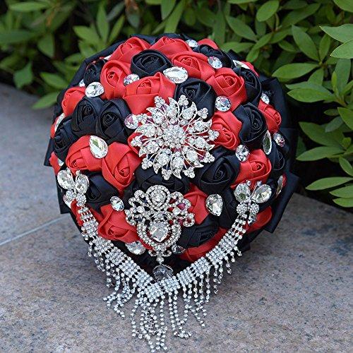 Crystal Wedding Flower Bouquets Rhinestone Pearl Tassl Brooch for Bridal (Red+Black)](Black Orchid Bouquet)