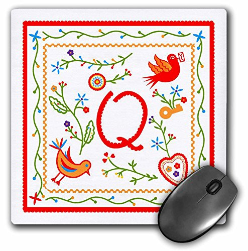 3dRose Belinha Fernandes - Romantic monogram - Letter Q Monogram inpired by sweethearts Handkerchiefs portuguese tradition - MousePad (mp_160689_1)