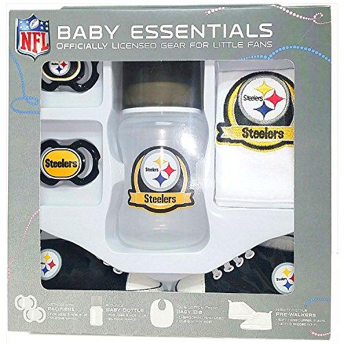 (Pittsburgh Steelers Baby Essentials 5 Piece Newborn Infant Baby Shower Gift Set)