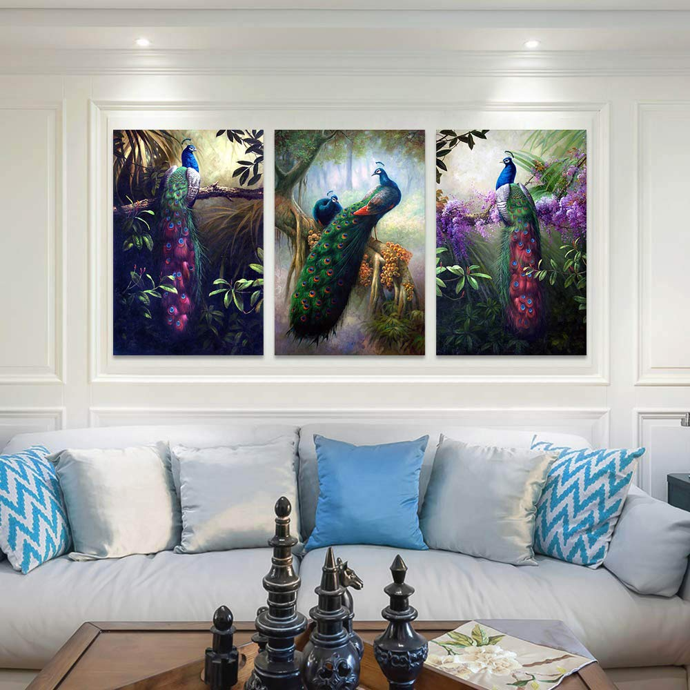 HLJ ART Modern Animals Wall Decor Painting Prints on Canvas for Home and Office Decoration Peacock-A, 20x30inchx3pcs