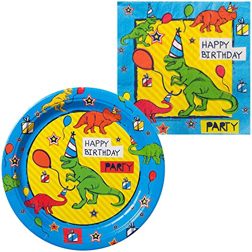 Dinosaur Fun Birthday Tableware Kit (for 16 Guests) (Napkin Dinosaur)