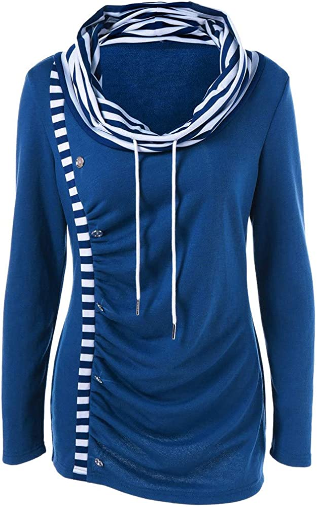 Cathalem Women Casual Hoodies Stripe Long Sleeve Cowl Neck Drawstring Pullover Sweatshirts Tops