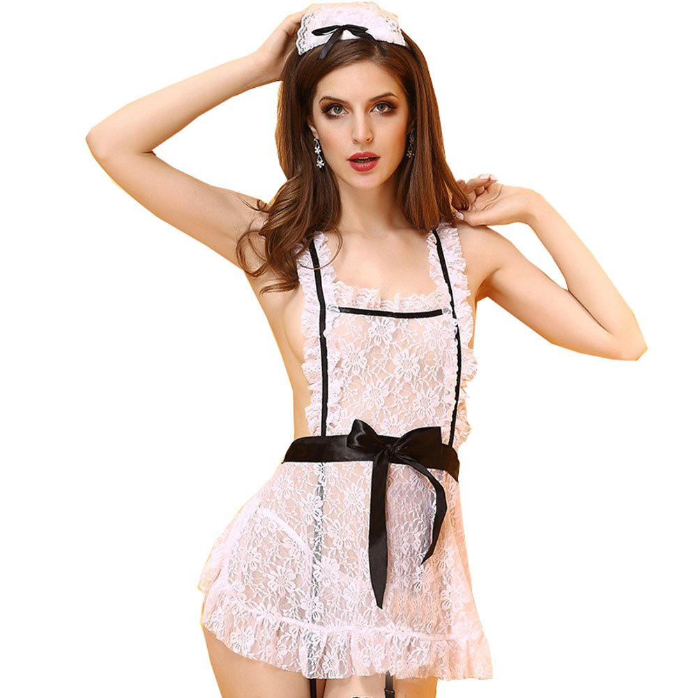 IYISS Women's Standard N Plus Lace Maid Costume Lingerie Set