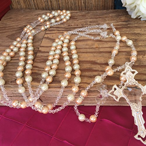 (Blush and Cream Color Pearl Silver Plated Crystal Wedding Lasso/Crystal Wedding Rosary/Lazo De Boda De Crystal)