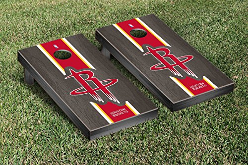 Houston Rockets NBA Basketball Regulation Cornhole Game Set Onyx Stained Stripe Version by Victory Tailgate