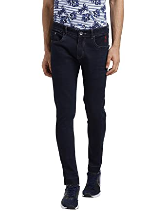 Realm Men Dark Blue Skinny Fit Mid Rise Stretchable Jeans