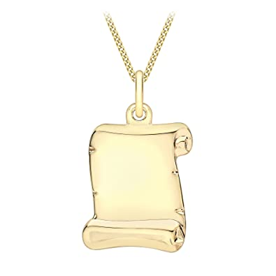 Carissima Gold 9ct Yellow Gold Parchment Scroll Pendant on a Curb Chain of Length 45.72cm NDHZ2FHC0
