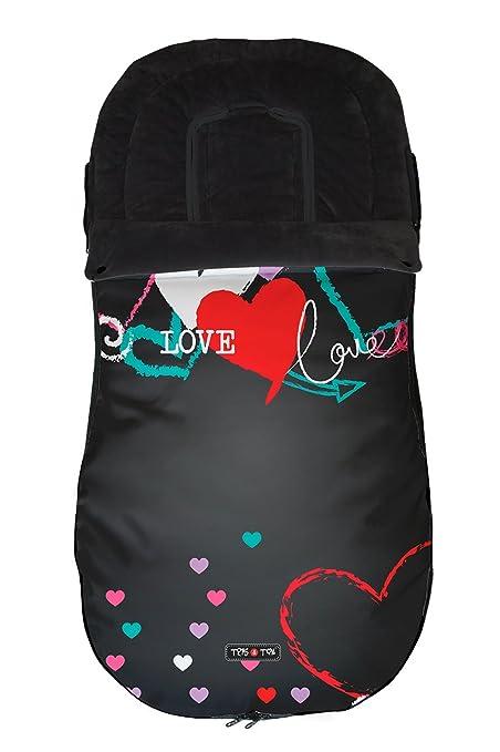 Tris&Ton Saco silla de paseo universal para bebe modelo Love, Saco funda cochecito con forro