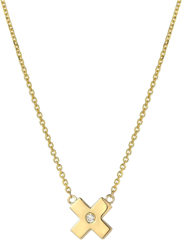 14k Gold Citrine November Birthstone Cursive Letter X Dog-tag Necklace