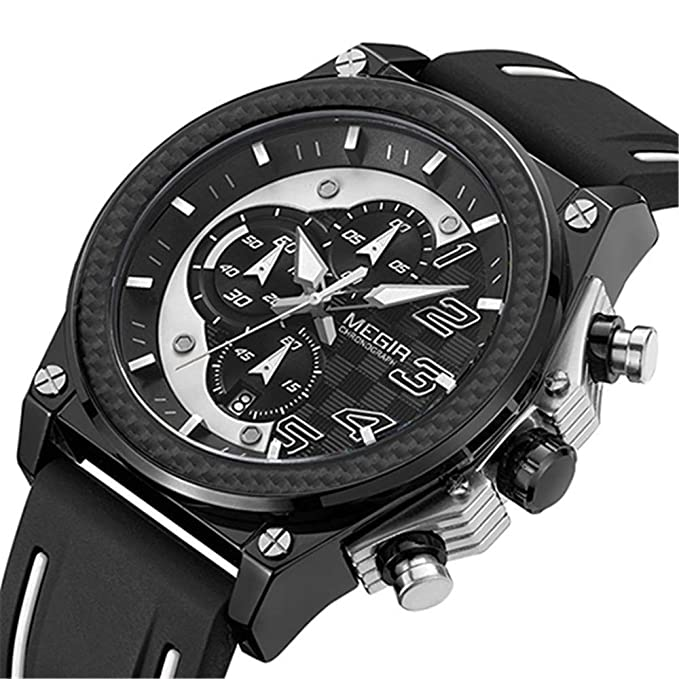 Amazon.com: Mens Wrist Watches Quartz Men Sport Watch Big Dials Silicone Strap Army Military Watches Clock Men Chronograph Wristwatches Relogio Masculino ...