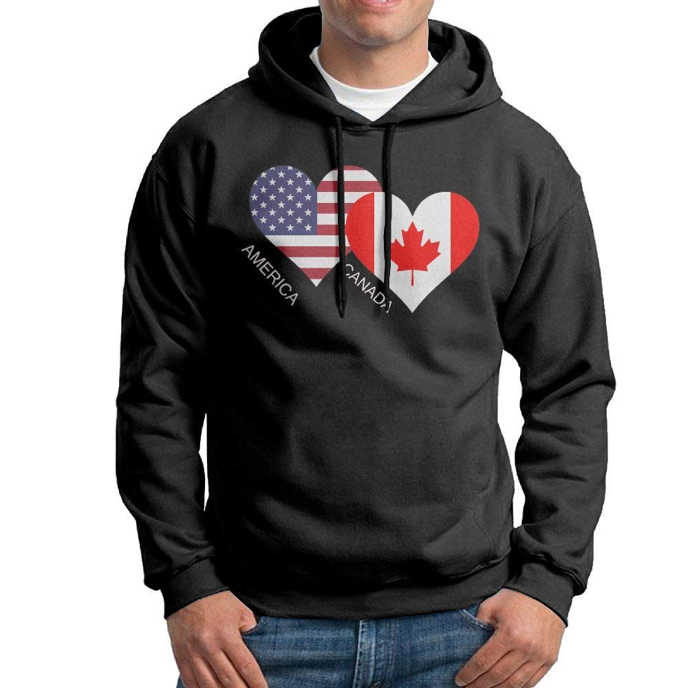 Boys America Canada Flag Heart Patterns Print Athletic Pullover Tops Fashion Sweatshirts